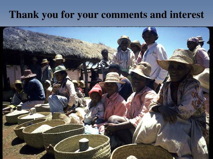 Thank you for your comments and interest