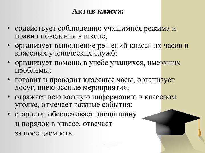 Актив класса: