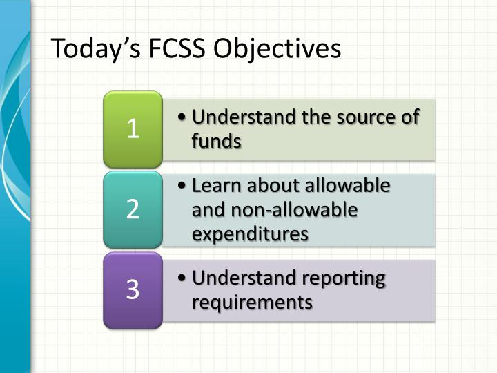Today's FCSS Objectives