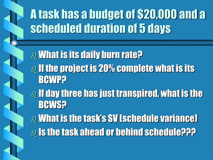 A task has a budget of $20,000 and a scheduled duration of 5 days