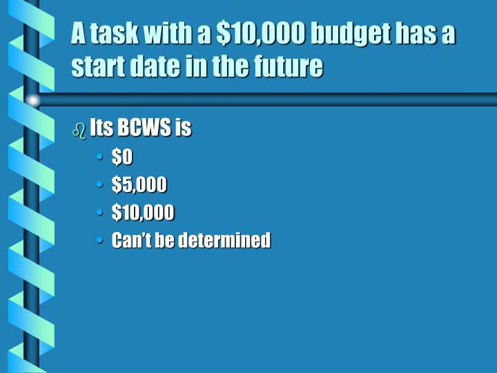 A task with a $10,000 budget has a start date in the future