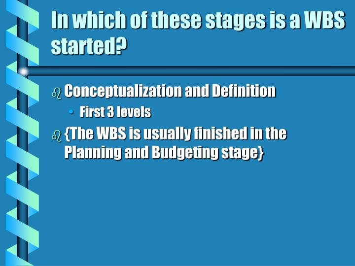 In which of these stages is a WBS started?