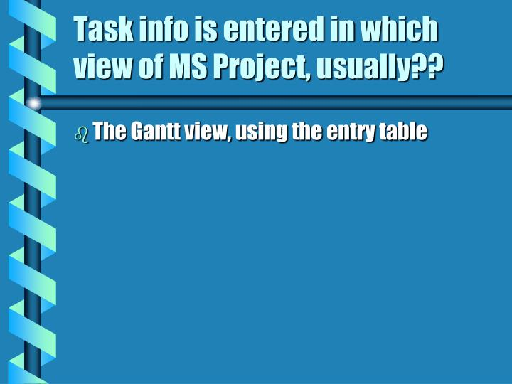Task info is entered in which view of MS Project, usually??