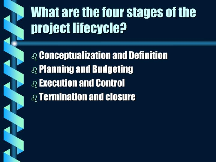 What are the four stages of the project lifecycle?