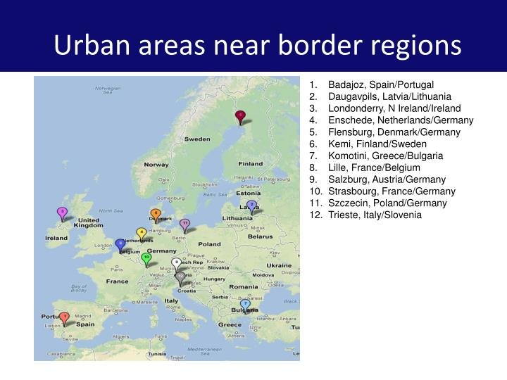 Urban areas near border regions