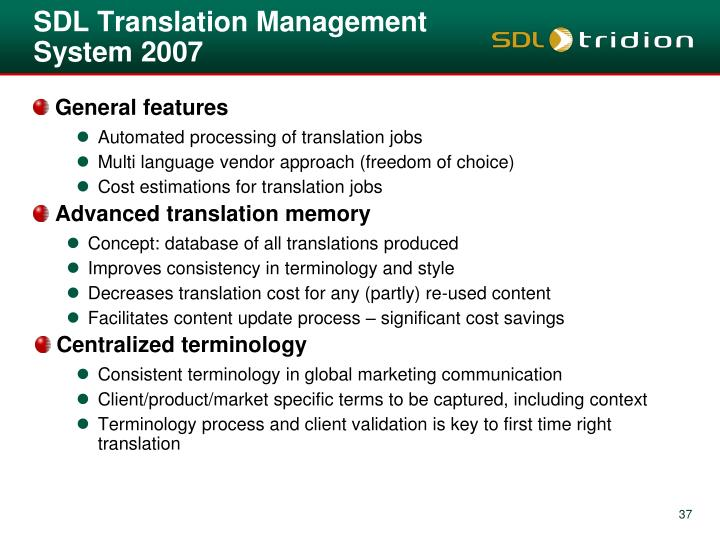 SDL Translation Management System 2007