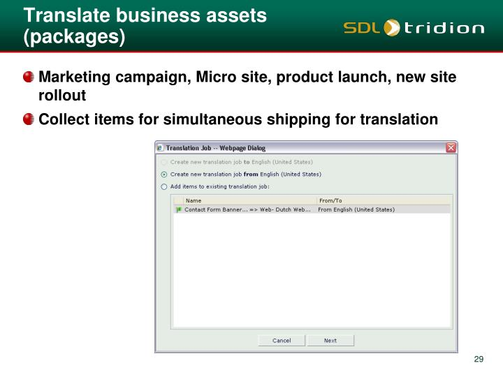 Translate business assets (packages)