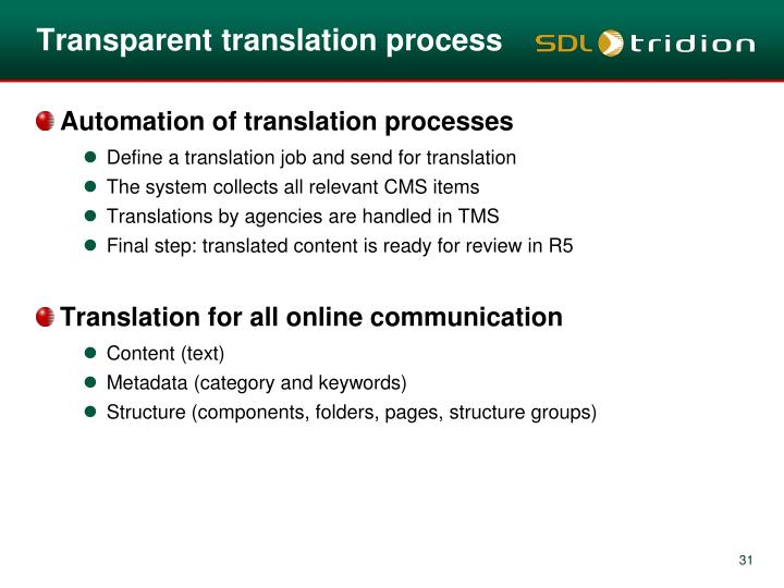 Transparent translation process
