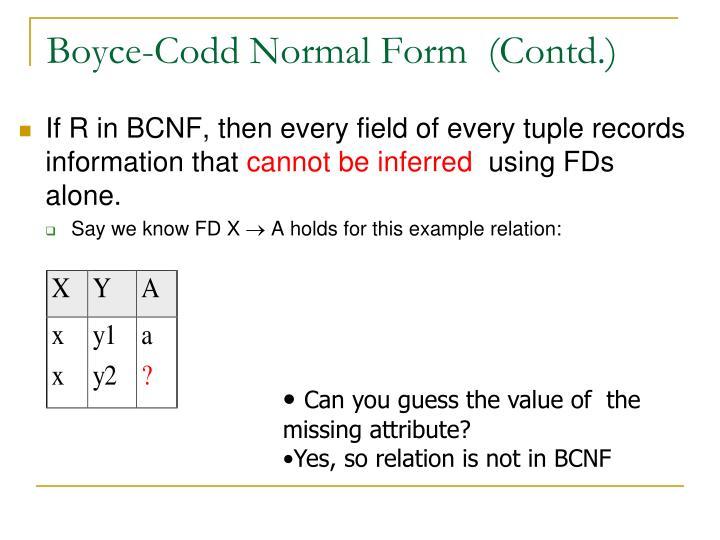 Boyce-Codd Normal Form  (Contd.)