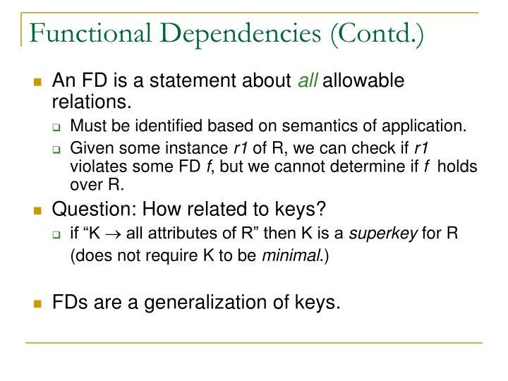 Functional Dependencies (Contd.)