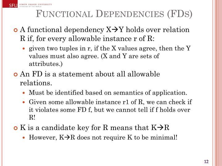 Functional Dependencies (FDs)