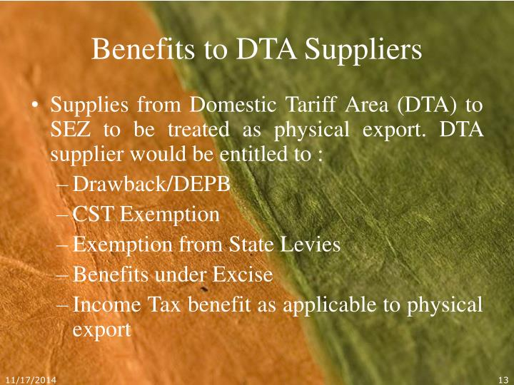 Benefits to DTA Suppliers