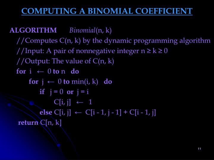 COMPUTING A BINOMIAL COEFFICIENT