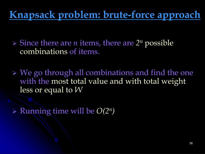 Knapsack problem: brute-force approach