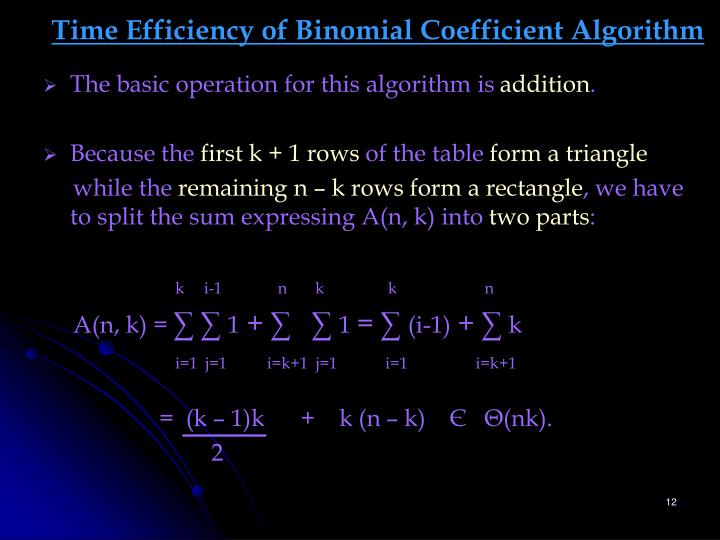 Time Efficiency of Binomial Coefficient Algorithm