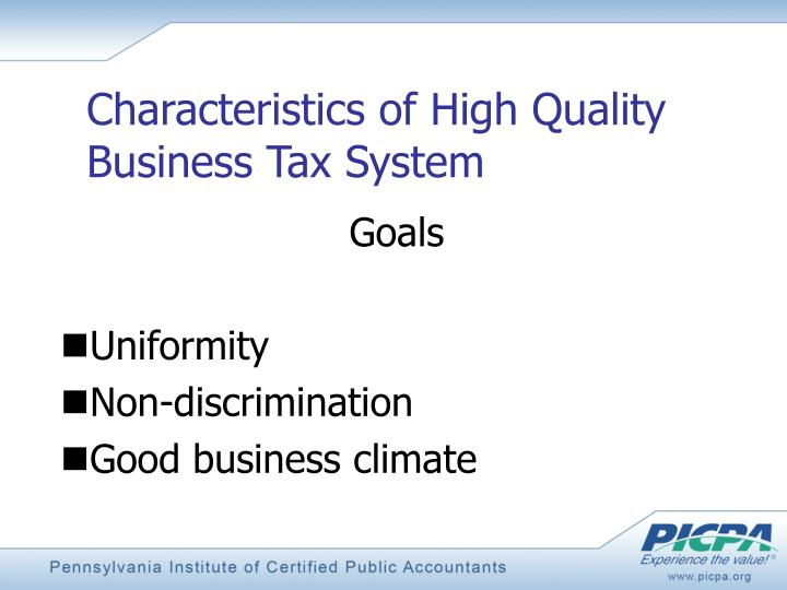Characteristics of High Quality Business Tax System