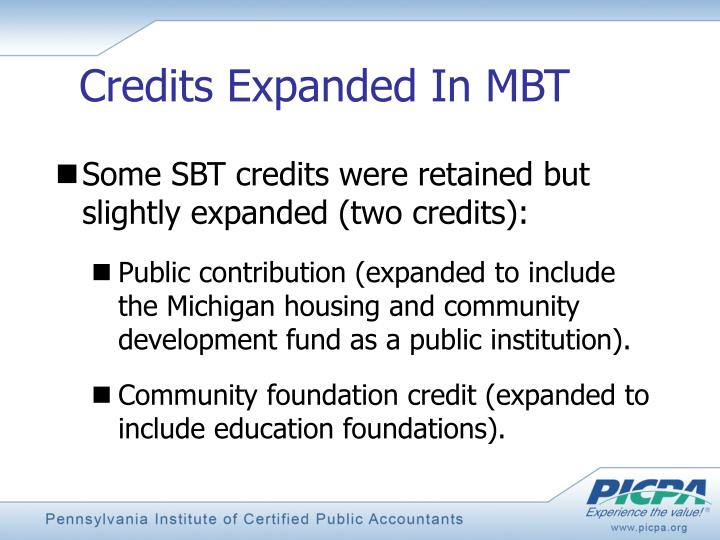 Credits Expanded In MBT
