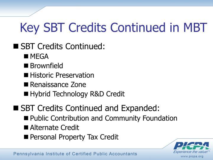 Key SBT Credits Continued in MBT
