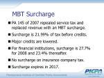 mbt surcharge