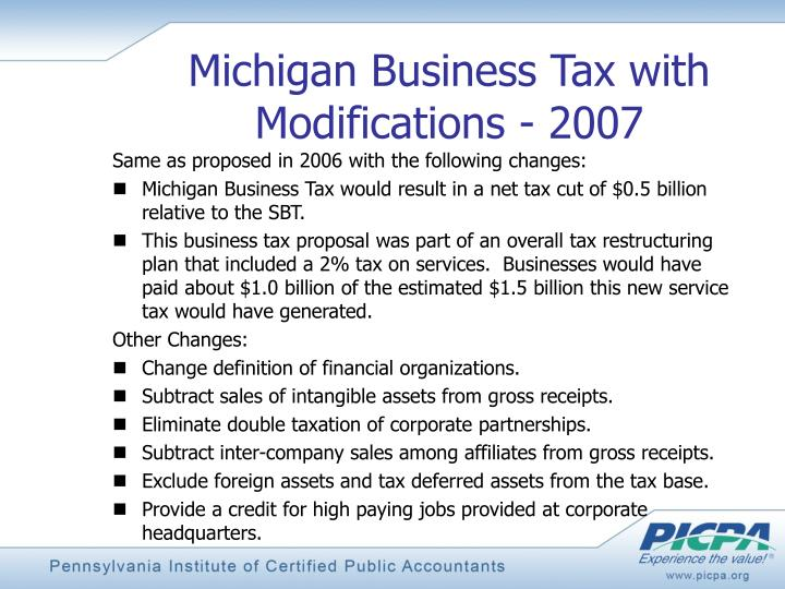 Michigan Business Tax with Modifications - 2007