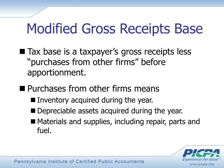 Modified Gross Receipts Base
