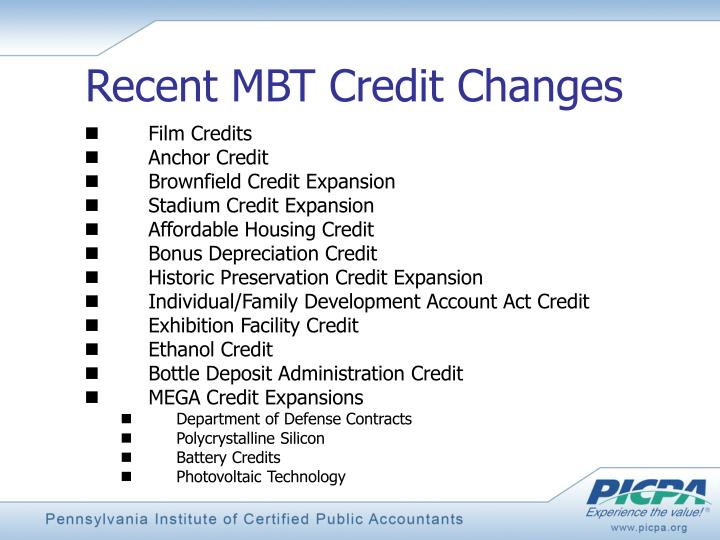 Recent MBT Credit Changes