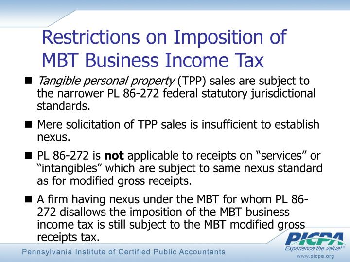 Restrictions on Imposition of MBT Business Income Tax