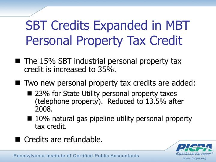 SBT Credits Expanded in MBT Personal Property Tax Credit