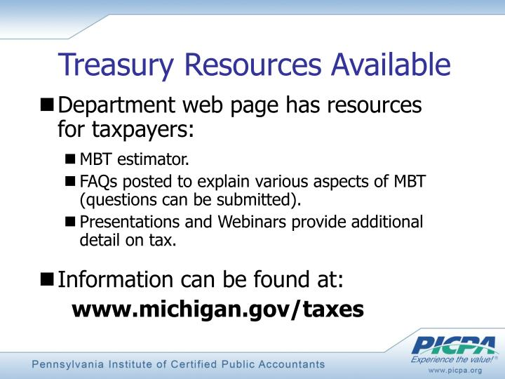 Treasury Resources Available