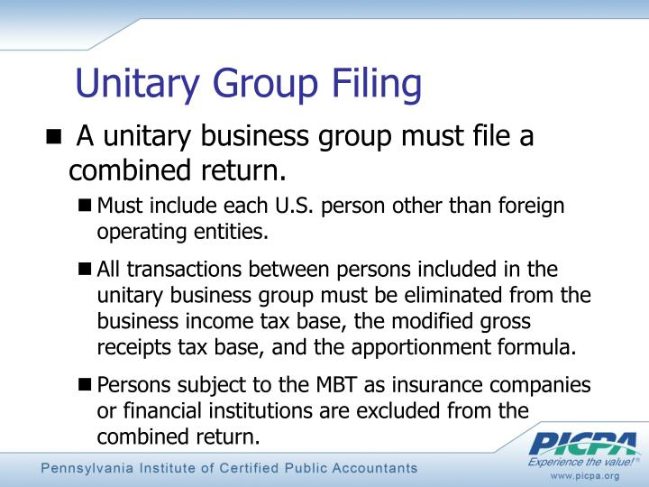 Unitary Group Filing