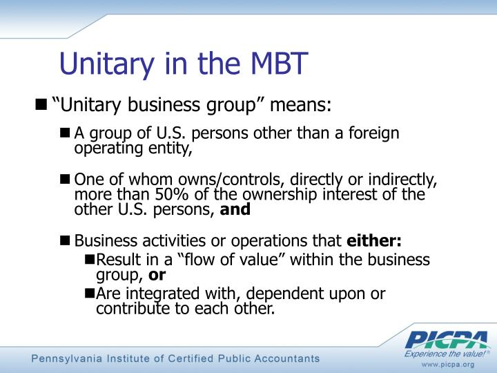 Unitary in the MBT