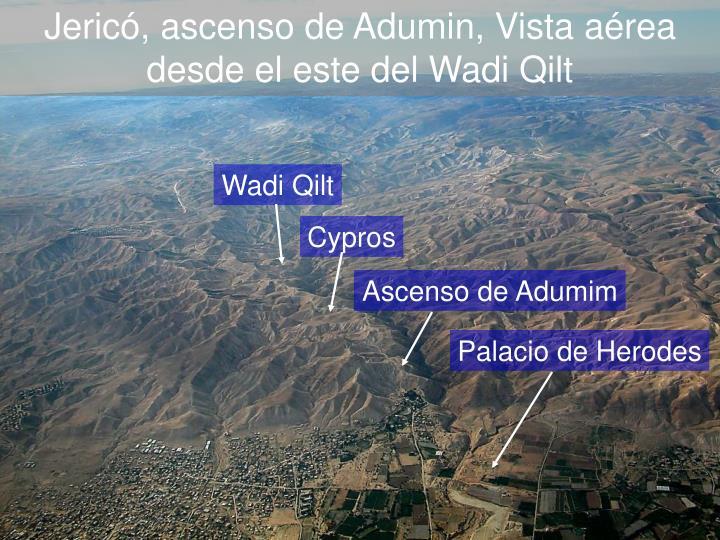 Jericó, ascenso de Adumin, Vista aérea desde el este del Wadi Qilt