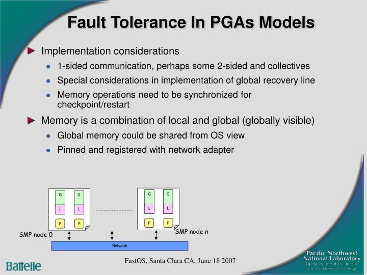 Fault Tolerance In PGAs Models