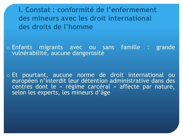 I. Constat: conformité de l'enfermement des mineurs avec les droit international des droits de l'homme