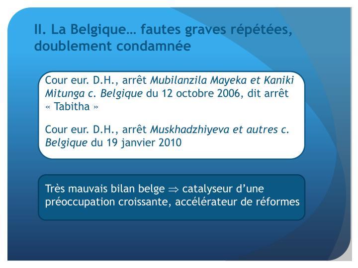 II. La Belgique… fautes graves répétées, doublement condamnée