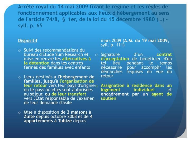 Arrêté royal du 14 mai 2009 fixant le régime et les règles de fonctionnement applicables aux lieux d'hébergement au sens de l'article 74/8, § 1er, de la loi du 15 décembre 1980 (…) – syll. p. 65