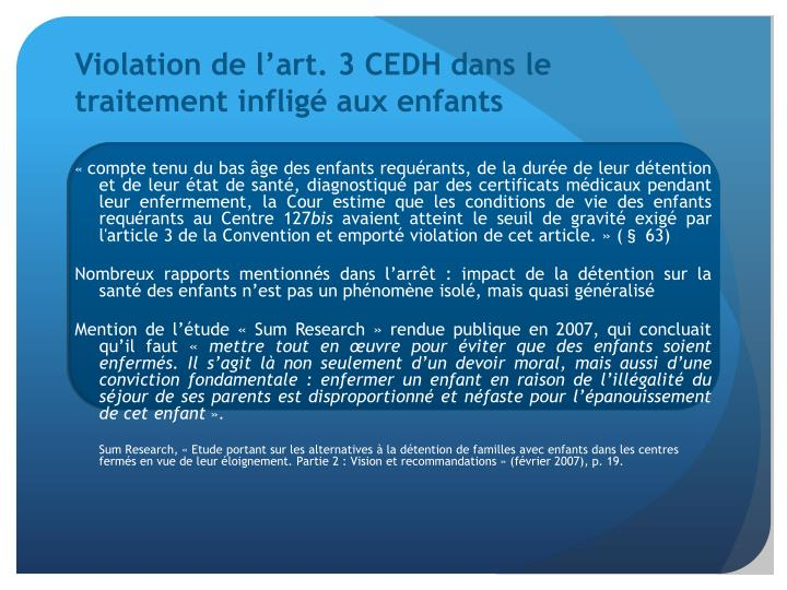 Violation de l'art. 3 CEDH dans le traitement infligé aux enfants