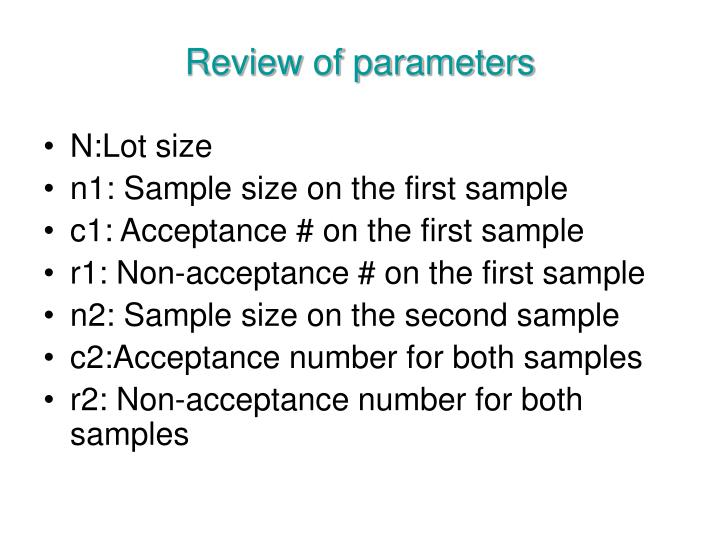 Review of parameters