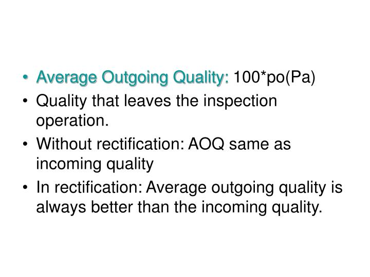 Average Outgoing Quality: