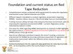 foundation and current status on red tape reduction