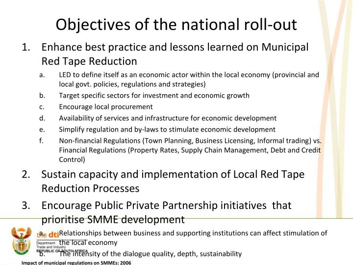 Objectives of the national roll-out