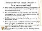 rationale for red tape reduction at local government level