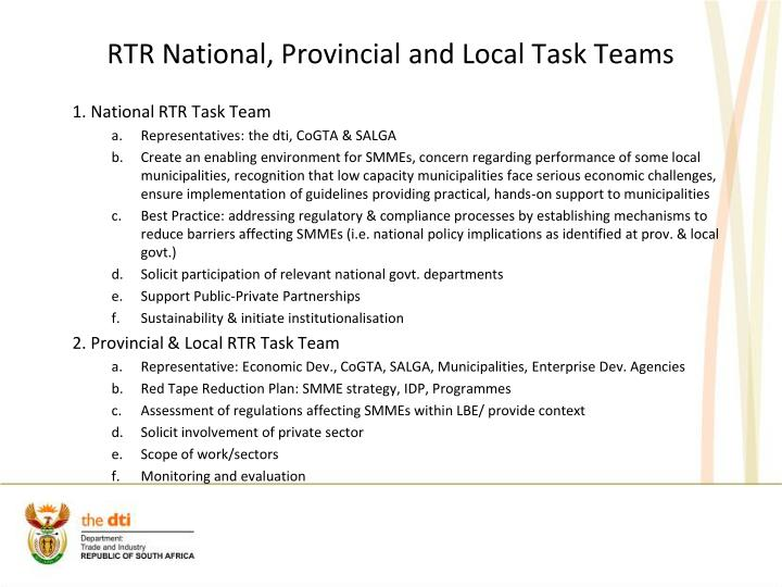 RTR National, Provincial and Local Task Teams