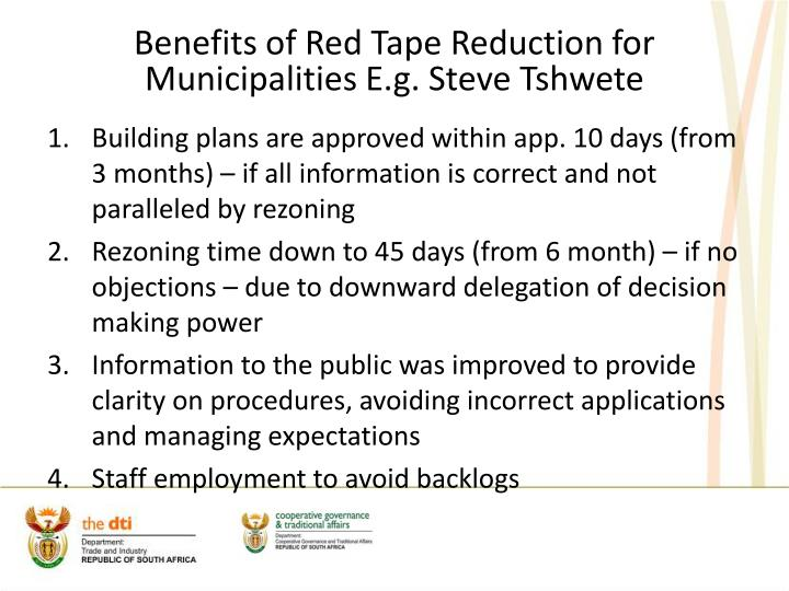Benefits of Red Tape Reduction for Municipalities E.g. Steve