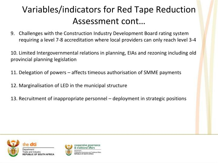 Variables/indicators for Red Tape Reduction