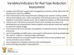 variables indicators for red tape reduction assessment