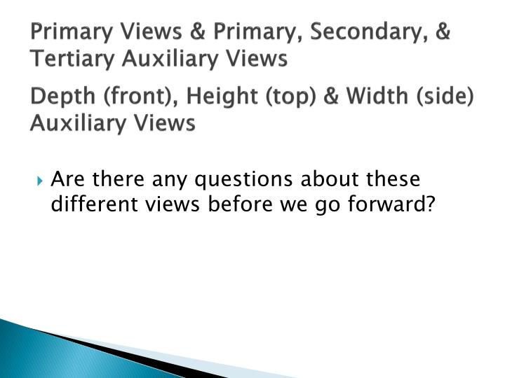 Primary Views & Primary, Secondary, & Tertiary Auxiliary Views