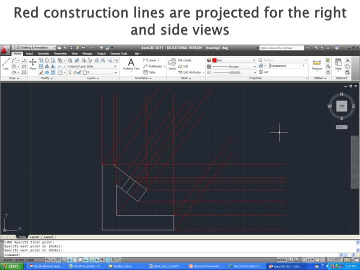 Red construction lines are projected for the right and side views