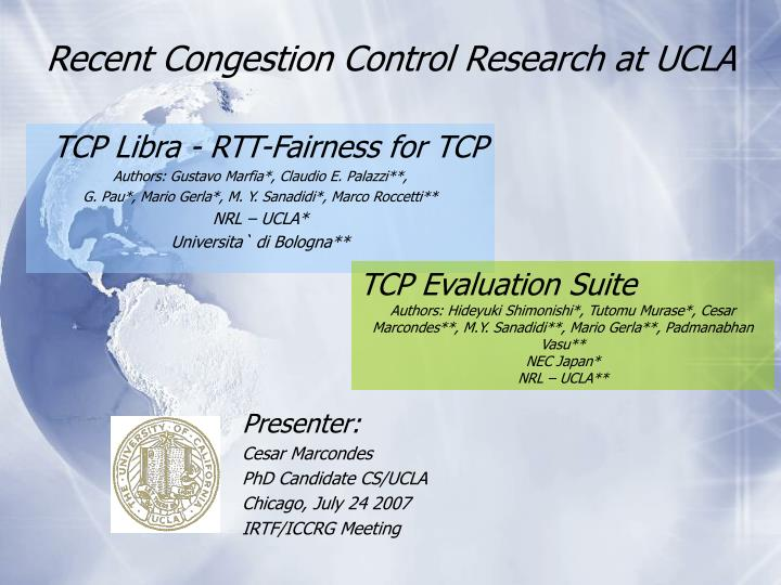 Recent congestion control research at ucla