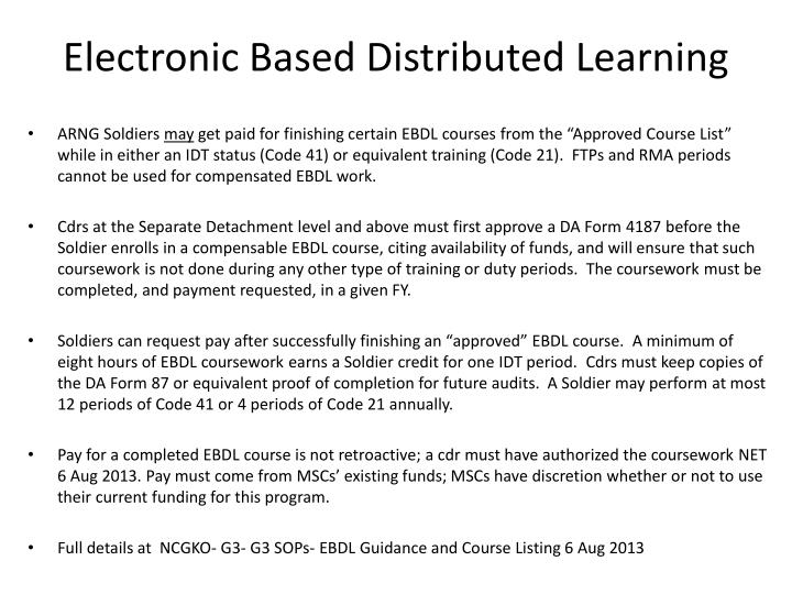 Electronic based distributed learning